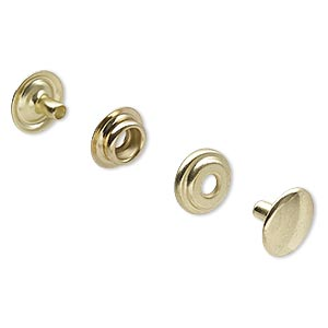 Snap Fasteners Brass Plated/Finished Gold Colored