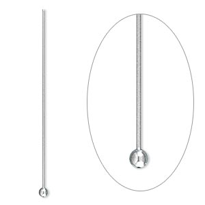Headpin, Stainless Steel, 1-1/2 Inches 2mm Ball, 24 Gauge. Sold Per Pkg 50