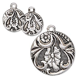 "Drop, Antique Silver-finished ""pewter"" (zinc-based Alloy), 15mm 25mm Flat Round Flower Leaf Design. Sold Per 3-piece Set"