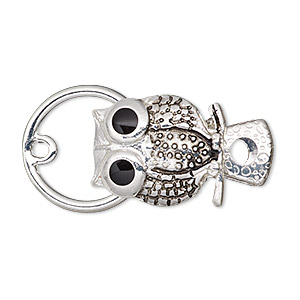 "Clasp, Alligator Clip, Enamel Antique Silver-finished Steel ""pewter"" (zinc-based Alloy), Black, 20x16mm Owl. Sold Individually"