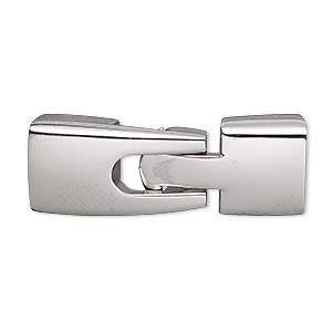 Clasp, Buckle, Stainless Steel, 36x13mm Rectangle Glue-in Ends, 10.5x6mm Inside Diameter. Sold Individually