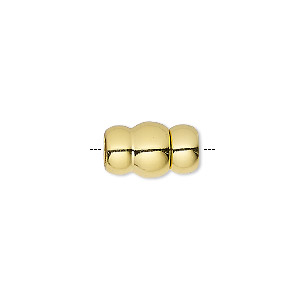Clasp, Magnetic, Gold-finished Brass, 14.5x9mm Glue-in Ends, 5mm Inside Diameter. Sold Individually