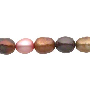 Pearl, Cultured Freshwater (dyed), Multicolored, 8-11mm Rice, Mohs Hardness 2-1/ 4. Sold Per 18-inch Strand