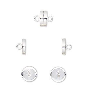 Clasp, Magnetic Barrel, Silver-plated Steel, 8x4mm. Sold Per Pkg 10