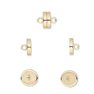 Clasp, Magnetic Barrel, Gold-plated Steel, 8x4mm. Sold Per Pkg 100