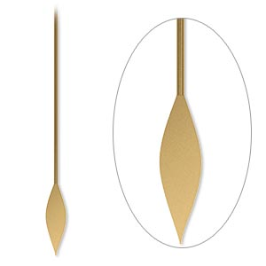 paddle pin, antique gold-plated brass, 2 inches with spear, 22 gauge. sold per pkg of 500.