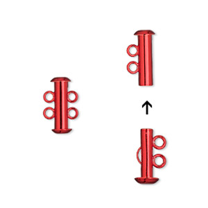 Clasp, 2-strand Slide Lock, Electro-coated Brass, Red, 16.5x6mm Tube. Sold Per Pkg 2
