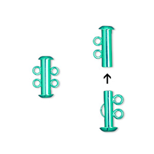 Clasp, 2-strand Slide Lock, Electro-coated Brass, Green, 16.5x6mm Tube. Sold Per Pkg 2