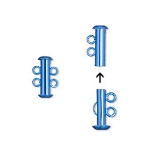 Clasp, 2-strand Slide Lock, Electro-coated Brass, Blue, 16.5x6mm Tube. Sold Per Pkg 2
