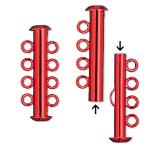 Clasp, 4-strand Slide Lock, Electro-coated Brass, Red, 26x6mm Tube. Sold Per Pkg 2