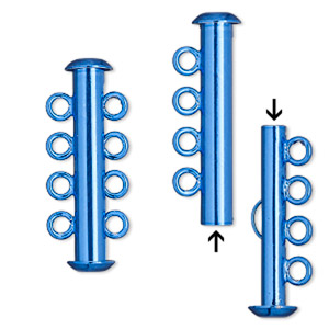 Clasp, 4-strand Slide Lock, Electro-coated Brass, Blue, 26x6mm Tube. Sold Per Pkg 2