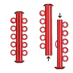 Clasp, 5-strand Slide Lock, Electro-coated Brass, Red, 31x6mm Tube. Sold Per Pkg 2