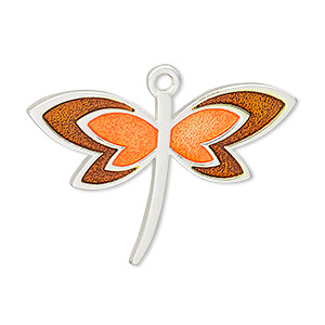 Focal, Enamel Silver-plated Pewter (tin-based Alloy), Orange Brown, 39x24mm Single-sided Matte Dragonfly. Sold Individually