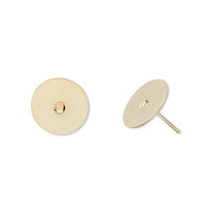 Earstud, Gold-plated Brass Stainless Steel, 12mm Flat Pad. Sold Per Pkg 50 Pairs