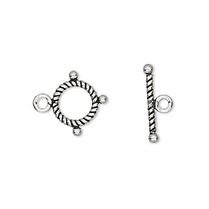 Clasp, Toggle, Antiqued Sterling Silver, 9.5mm Twisted Round. Sold Per Pkg 2