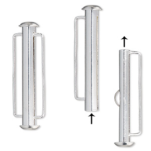 Clasp Slide Lock Silver Plated Brass 31x6mm Round Tube