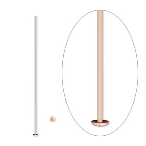Headpin, 14Kt Rose Gold-filled, 1-1/2 Inches, 24 Gauge. Sold Per Pkg 10