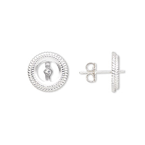 Earstud, Almost Instant Jewelry®, Sterling Silver, 12mm Round 0.8mm Peg Rope Edge 8mm Round Setting. Sold Per Pair B1414FN