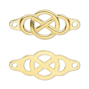 Focal, TierraCast®, Gold-plated Pewter (tin-based Alloy), 35x15mm Single-sided Infinity Design Cutouts. Sold Individually 94-3178-25