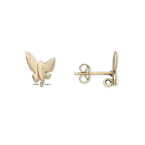 Earstud, Brass Brass-plated Stainless Steel, 11x9mm Matte Butterfly Hidden Closed Loop. Sold Per Pkg 2 Pairs