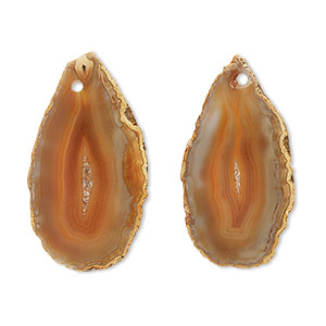 Focal, Red Agate (dyed / Heated), 30x15mm-59x35mm Hand-cut Slice, Mohs Hardness 6-1/2 7. Sold Per Pkg 2