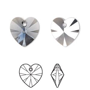 Drop, Swarovski® Crystals, Crystal Passions®, Denim Blue Satin, 14mm Xilion Heart Pendant (6228). Sold Individually 6228