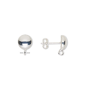 Earstud, Sterling Silver, 8mm Half-ball Open Loop. Sold Per Pair