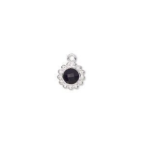 Drop, Glass Sterling Silver, Black, 9mm Single-sided Round. Sold Individually