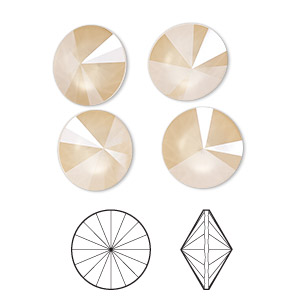 Chaton, Swarovski® Crystal Rhinestone, Crystal Passions®, Crystal Ivory Cream Shiny, 12mm Faceted Rivoli (1122). Sold Per Pkg 48 1122