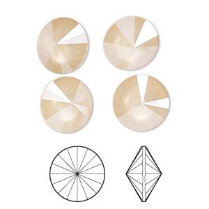 Chaton, Swarovski® Crystal Rhinestone, Crystal Ivory Cream Shiny, 12mm Faceted Rivoli (1122). Sold Per Pkg 144 (1 Gross) 1122