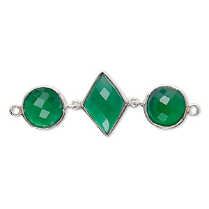 Link, Green Onyx (dyed) Sterling Silver, 40x16mm Single-sided 16x11mm Faceted Diamond 11mm Faceted Round. Sold Individually