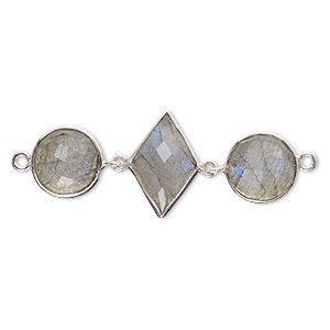 Link, Labradorite (natural) Sterling Silver, 40x16mm Single-sided 16x11mm Faceted Diamond 11mm Faceted Round. Sold Individually