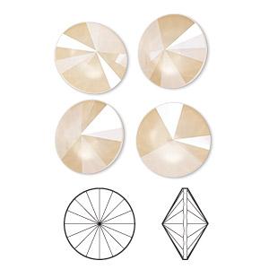 Chaton, Swarovski® Crystal Rhinestone, Crystal Passions®, Crystal Ivory Cream Shiny, 14mm Faceted Rivoli (1122). Sold Per Pkg 4 1122