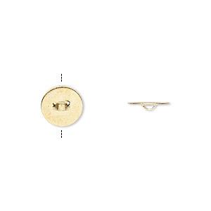 Flat Pad, Beadalon®, Glue-on, Gold-plated Brass, 8mm Round Flat Pad. Sold Per Pkg 20 317A-410