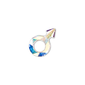 Embellishment, Swarovski® Crystal Rhinestone, Crystal Passions®, Crystal AB, Foil Back, 18x11.5mm Faceted Male Symbol Fancy Stone (4878). Sold Individually 4878