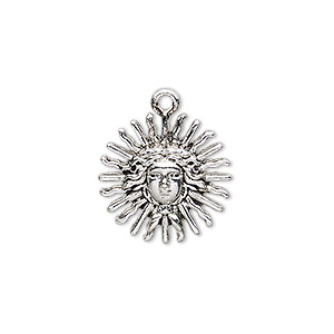 "Charm, Antique Silver-finished ""pewter"" (zinc-based Alloy), 19x19mm Single-sided Sun Face. Sold Per Pkg 4"