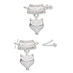 Clasp, Tab Safety, Cubic Zirconia Silver-plated Brass, Clear, 13x7mm Curved Tube 12x10mm Fox Head Dangle. Sold Individually