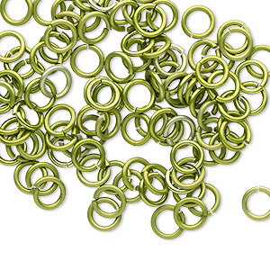 Jumpring, Anodized Tempered Aluminum, Light Green, 6mm Round, 4.2mm Inside Diameter, 18 Gauge. Sold Per Pkg 100