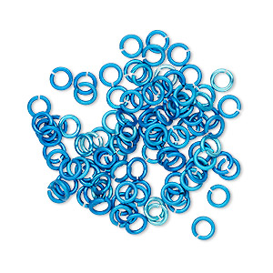 Jumpring, Anodized Tempered Aluminum, Light Blue, 4mm Round, 2.4mm Inside Diameter, 20 Gauge. Sold Per Pkg 100