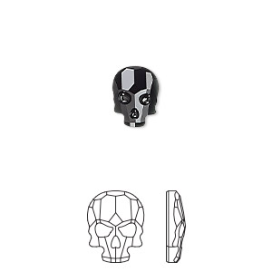 2 Swarovski Faceted Skull Flat Back 10x7.5mm Rhinestone 2856.