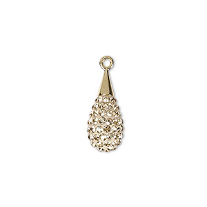 AP0024 Cubic Water Drop Pendant Wedding Jewelry Supplies Jewelry Craft Supplies 2 Pieces- Polished Gold Plated Over Brass -PG
