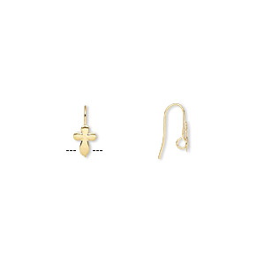 Earwire, Gold-plated Brass, 16mm Fishhook 10x7mm Cross Hidden Open Loop, 22 Gauge. Sold Per Pkg 50 Pairs
