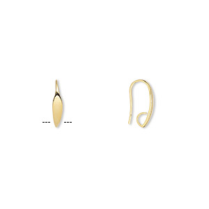 Earwire, Gold-plated Brass, 19.5mm Fishhook Leaf Hidden Open Loop, 19 Gauge. Sold Per Pkg 50 Pairs