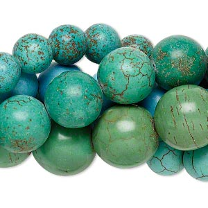 Bead Mix, Magnesite (dyed / Stabilized), Multicolored, 10-22mm Round, Mohs Hardness 3-1/2 4. Sold Per Pkg (5) 15-inch Strands