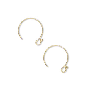 Earwire, 14Kt Gold-filled, 12mm French Hook 1.5mm Ball Open Loop, 22 Gauge. Sold Per Pair