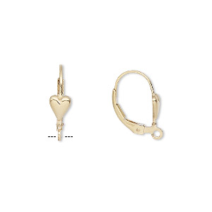 Earwire, 14Kt Gold-filled, 17mm Leverback 6x5mm Heart Open Loop. Sold Per Pair