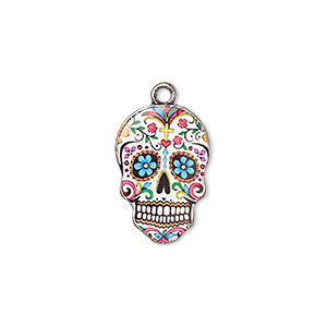 "Charm, Resin Antique Silver-plated ""pewter"" (zinc-based Alloy), Multicolored, 19x13mm Single-sided Dia De Los Muertos Skull Flower Diamond Design. Sold Individually"