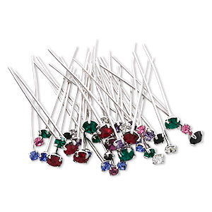 Headpin Mix, Swarovski® Crystals Silver- Rhodium-plated Brass, Mixed Colors, 1-1/2 Inches PP18 / PP24 / PP32, 21-23 Gauge. Sold Per Pkg 144 (1 Gross)