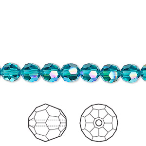 deed04c73 Bead, Swarovski® crystals, blue zircon shimmer, 6mm faceted round ...