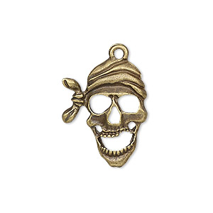 "Drop, Antique Brass-plated ""pewter"" (zinc-based Alloy), 24x19mm Single-sided Pirate Skull. Sold Individually"